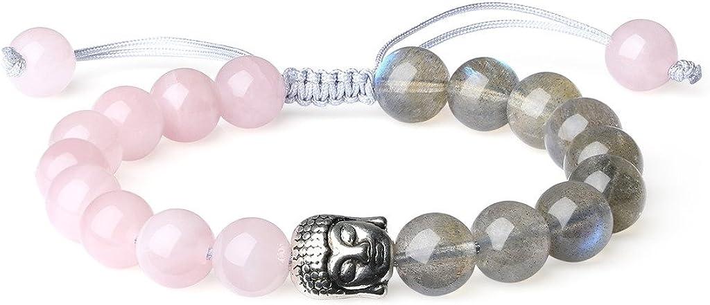 COAI® Pulsera Ajustable de 8mm Cristales y Piedras con Cabeza de Buda