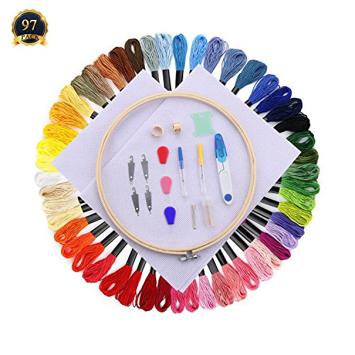 SUBANG Full Set of Embroidery Starter Kit Cross Stitch Tool Kit Including 10 Inch Bamboo Embroidery Hoop, 50 Vivid Color Threads, 2 Pcs 12 by 18-Inch 14 Count Classic Reserve Aida and Tool Kit