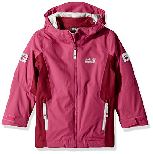 Jack Wolfskin Girls Grivla 3In1 Jacket, Fuchsia, Size 140 (9-10 Years) by Jack Wolfskin