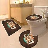 Anhuthree Movie Theater Bath Rug Set Piece Retro Style Cinema Sign Design Film Festival Hollywood Theme 3 Piece Bathroom Contour Rugs Brown Turquoise Vermilion