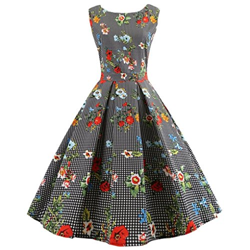 Women Vintage Printing Dress, AgrinTol Bodycon Sleeveless Halter Evening Party Prom Swing Dress Gray (Prada-outlet-online-shop)