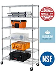This is 6 tier wire shelving, you only need to spend 15min to install it. The shelving unit is made of steel wire shelving. Maximum weight capacity per shelf is 600lbs when equally distributed on feet levelers. Maximum entire unit weight capa...