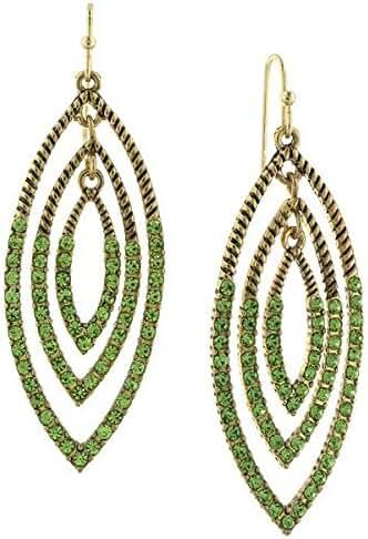 1928 Jewelry Womens Gold Tone Peridot Green Color Vintage Drop Earrings