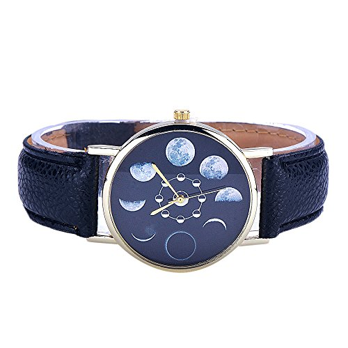 Women Quartz Wrist Watch Casual Leather Watches Moon Phase Astronomy Space Watch
