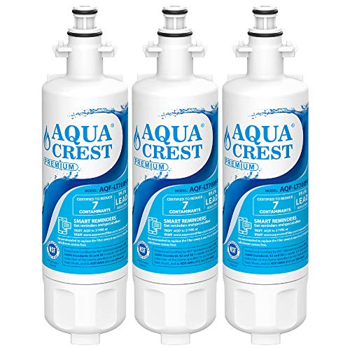 AQUACREST 469690 Refrigerator Water Filter, Certified to Reduce 99% of Lead, Cyst & More, Compatible with LG LT700P, Kenmore 9690, 46-9690, ADQ36006102 (Pack of 3)