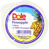 Dole Pineapple Tidbits in 100% Juice, 4-Ounce Cups (Pack of 36)