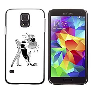 LECELL--Funda protectora / Cubierta / Piel For Samsung Galaxy S5 SM-G900 -- Dance Caricature Man Woman Drawing Art --
