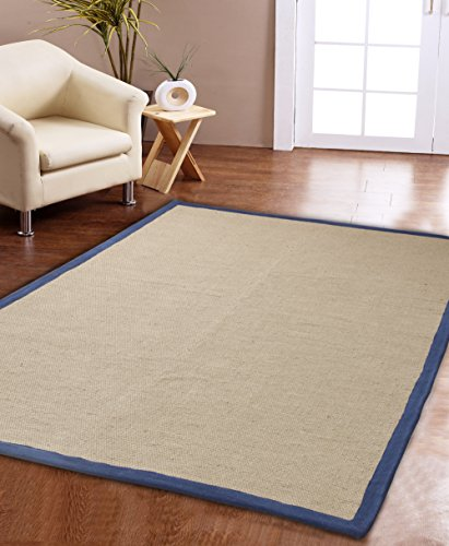 (Affinity Home Collection Eco Natural Cotton Border Jute Rug (3' x 5') Navy/Beige )