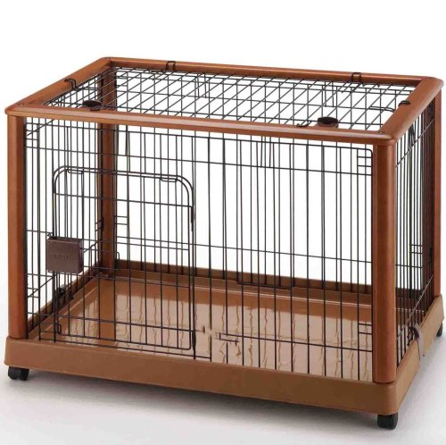 Richell Wood Mobile Pet Pen 940, Autumn Matte Finish by Richell