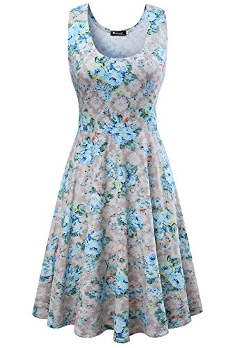 Measoul Womens Casual Fit and Flare Floral Sleeveless Party Evening Cocktail Dress,Grey,Large