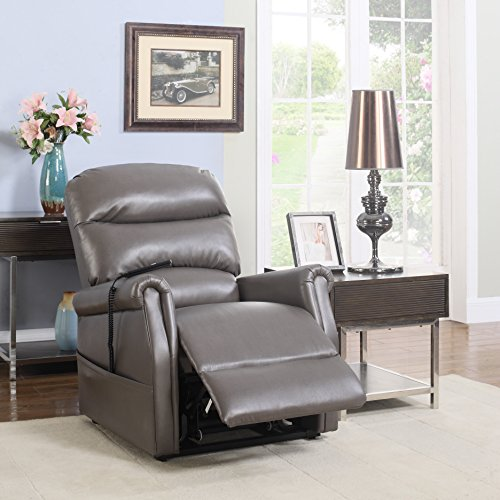 Divano Roma Furniture Classic Plush Bonded Leather Power Lift Recliner Living Room Chair (Grey)
