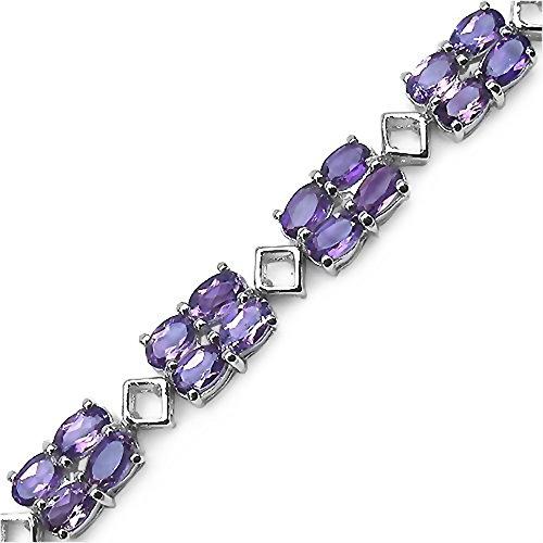 """Sterling Silver Améthyste Ovale Cut [7.25 """"/18.41 mm] Bracelet Tennis en 12.96 Carats pour les femmes"""
