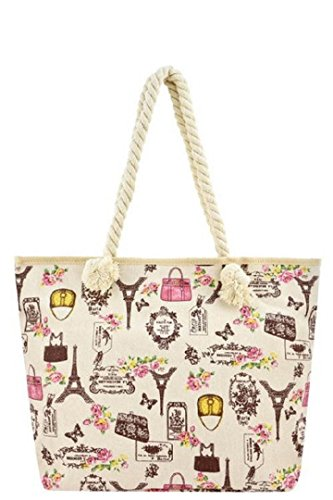 Rope Handle Canvas Summer Spring Print Tote Carryall Purse Bags (Rope Strap - Paris Romance) by Bag Boutique