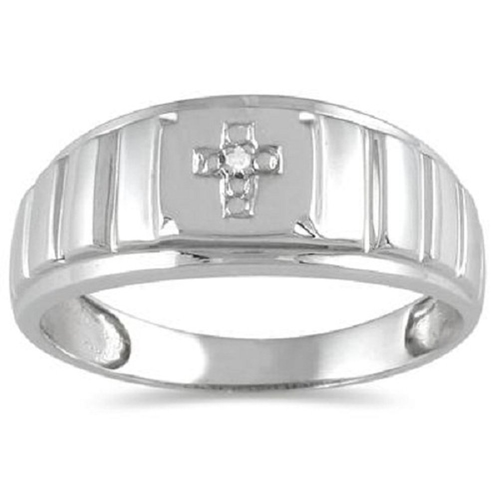 2heart Men's Round Diamond 14k White Gold Finish .925 Sterling Cross Wedding Band Ring