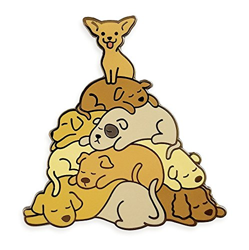 Pinsanity Cute Sleeping Puppy Dog Pile Enamel Lapel Pin (Puppy Dog Pin)