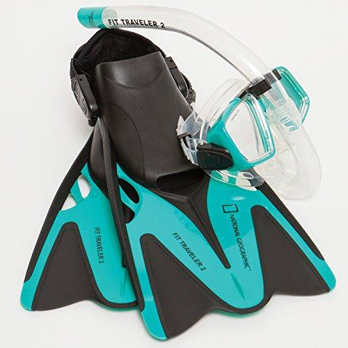 National Geographic Snorkeler Fit Traveler 2 Snorkel Combo, Emerald, -