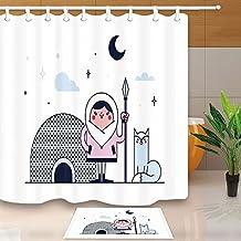 GoHeBe Polar Region Shower Curtain By Cartoon Eskimo Warrior Cat Ice House Moon Star 71X71in Mildew Resistant Shower Curtain Set With 15.7x23.6in Flannel Non-Slip Floor Doormat Bath Rugs