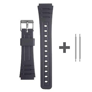 F91 de con Repuesto Negra 18mm Ociodual Pasadores Casio Pulsera Recambio Correa Reloj Plastico F 91W Compatible con Metálicos PZN0wOk8nX