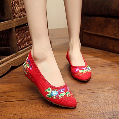estilo bordados lino Suela manera Chnuo Chinos étnico lenguado tendón Pendiente red Suave cómodo zapatos del PlanosZapatos femeninos Zapatos Mujeres ZY00pxPHWn
