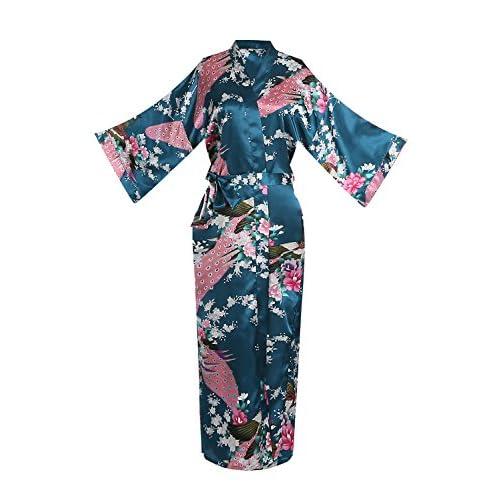 Nice ellenwell Women's Kimono Long Robe - Peacock & Blossoms Long Kimono Robe hot sale