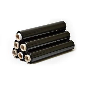 6 Rollen 2,5 kg Schwarz Top-Folie Stretchfolie 300m Länge 100% recyclingfähig Handfolie Verpackungsfolie Wickelfolie Paletten