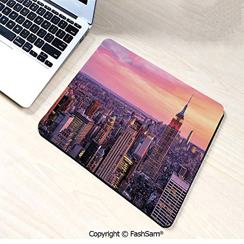 Personalized 3D Mouse Pad New York City Midtown with Empire State Building Sunset Business Center Rooftop Photo for Laptop -