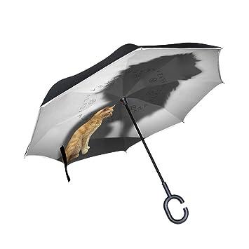 Mnsruu Paraguas invertido para Gato con Sombra de león, Doble Capa, Paraguas Plegable,