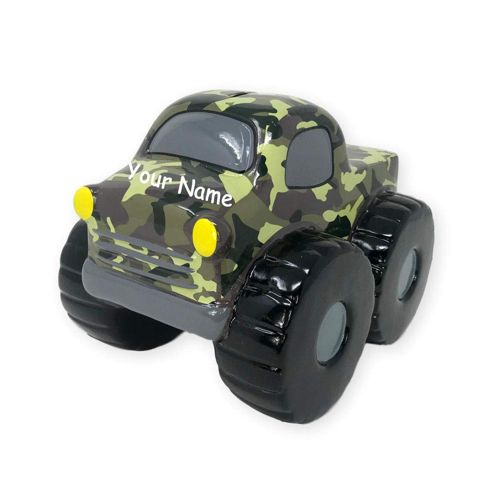 Personalized Camo Camouflage Monster Truck Big Wheel Ceramic Coin Bank with Custom Name