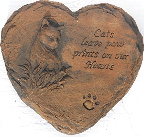 Cat Memorial Pet Stepping Stone Handmade in USA made of cast stone concrete great for indoor or outdoor 4 finishes stained or unpainted (Padre Brown) (Cast Stone Dog)