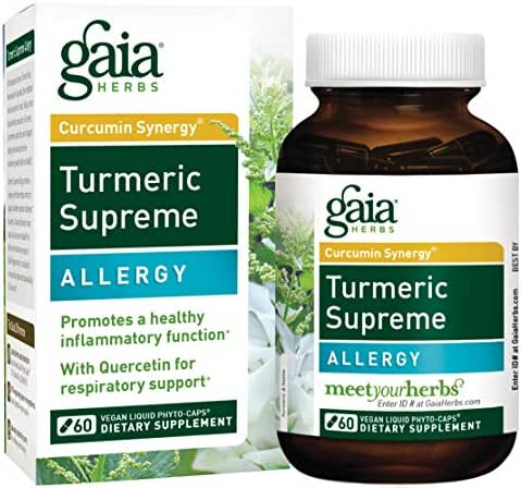 Gaia Herbs Turmeric Supreme Allergy, Vegan Liquid Capsules, 60 Count - Turmeric Curcumin Supplement, Seasonal Allergy Support, Non-Drowsy Formula