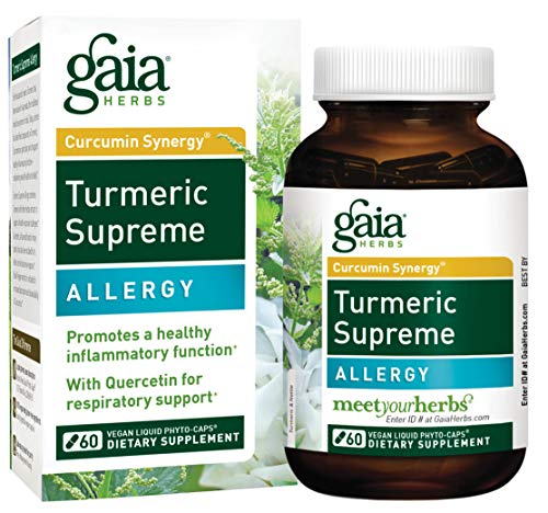 Gaia Herbs Turmeric Supreme Allergy, Vegan Liquid Capsules, 60 Count - Turmeric Curcumin Supplement for Seasonal Allergy Support, Non-Drowsy Formula with Quercitin, Stinging Nettle