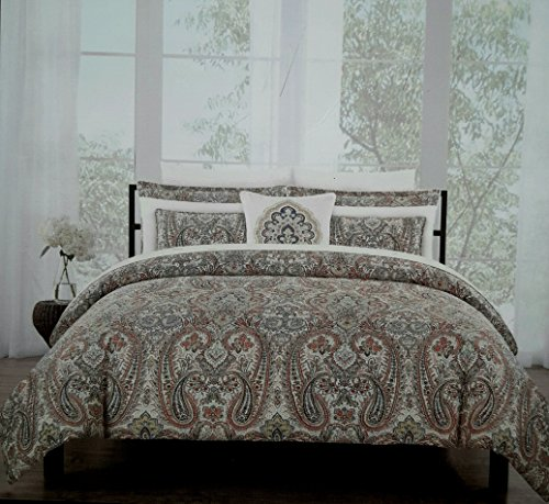 (Nicole Miller Bedding Duvet Cover Set Full/Queen 3 pc Paisley Medallion Floral Rust Sage Bohemian Damask Jacobean Cotton)