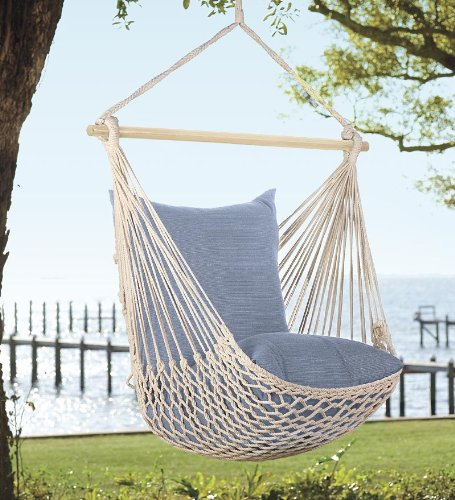 Plow & Hearth Rope Hammock Swing With Set Of 2 Pillows, i...