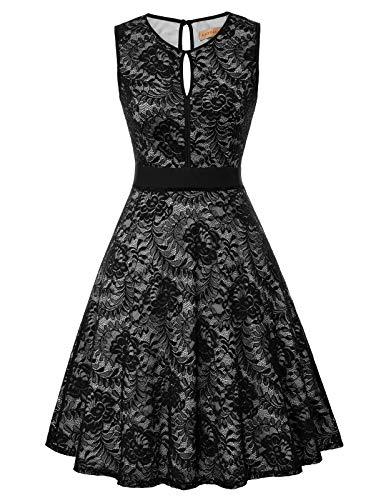 Kate Kasin Women's Elegant Floral Lace Bridesmaid A-Line Swing Party Dress Size XX-Large, Black-2