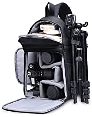 Camera Bag Waterproof Camera Sling Crossbody Bag Photo DSLR SLR Bag Case Compatible with Canon Nikon Sony Pentax Fujifilm and Mirrorless Cameras Lenses Tripod Accessories -Black