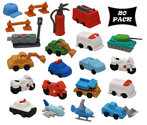 Smart Novelty Car Puzzle Erasers for Kids Party Favors and School Prizes - Trucks and Cars Vehicle Eraser Assortment - Pack of 20 Erasers
