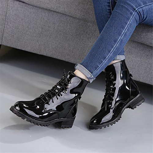 NVXIE Women's Short Boots Round head Mid Rough Heel Lace Up Patent Genuine Leather Pumps Martin Boots Black Spring Fall Winter Party Work EUR38UK55 jeKUA