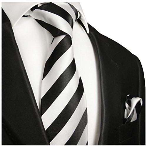 Cravate homme noir blanc rayée ensemble de cravate 2 Pièces ( longueur 165cm )