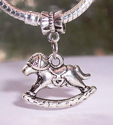 Rocking Horse Toy Nursery Play Dangle Bead fits Silver European Charm Bracelets Crafting Key Chain Bracelet Necklace Jewelry Accessories Pendants (Horse Pugster)