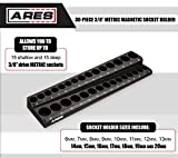 ARES 70235 | 30-Piece 3/8-Inch Metric Magnetic Socket Holder | Securely Holds 15 Standard and 15 Deep Size Sockets In Place | Keeps Your Tool Box Organized