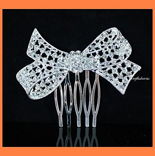 (Janefashions BOW Clear Austrian Rhinestone Crystal Hair Comb Wedding Bridal Jewelry C019)