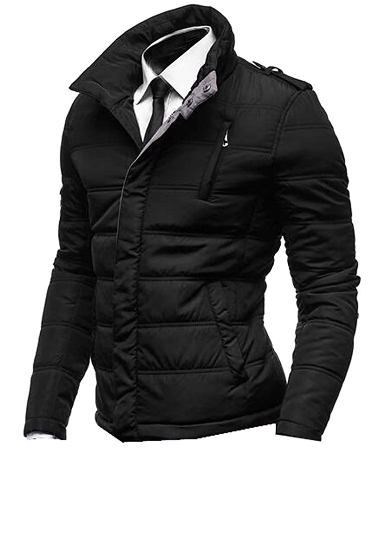 WAWAYA Men Stand Collar Slim Fit Winter Thick Down Quilted Coat Jacket Outwear