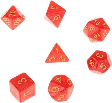 7 Piezas Juegos de Mesa Dados Multi Caras TRPG D4-D20 Patrón Perla con Puntitos Color Rojo: Amazon.es: Juguetes y juegos