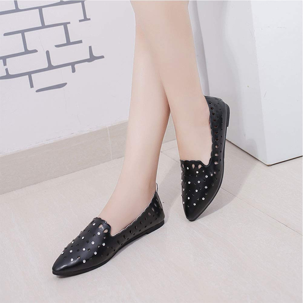 Aoile Casual Shoes Lady Fashion Flat Heel Tip Head Hollow