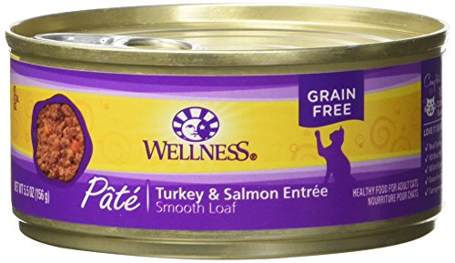 Wellness Natural Grain Free Wet Canned Cat Food, Turkey & Salmon Pate, 5.5-Ounce Can (Pack Of 24)