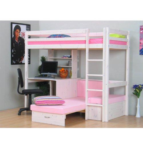 Thuka Hochbett, 90x200 Bett weiss inkl. Matratze rosa und ...