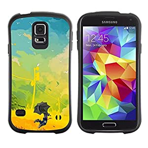Suave TPU Caso Carcasa de Caucho Funda para Samsung Galaxy S5 SM-G900 / kids painting vibrant yellow summer / STRONG