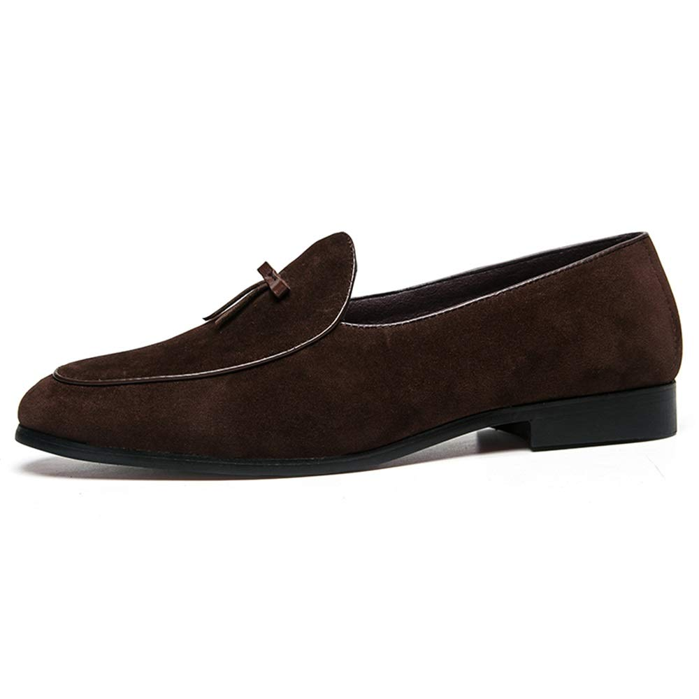 Gobling Driving Loafer for Men Boat Moccasins Slip On Style Leather Beautiful Bowknot Solid Color Driving Loafer Leather Fashion Sewing Round Toe (Color : Brown, Size : 8.5 M US)