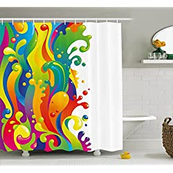 Ambesonne Psychedelic Shower Curtain, Digital Made Fluid Rainbow Color Paint Splash Contemporary Psychedelic Design, Fabric Bathroom Decor Set with Hooks, 70 Inches, Multicolor