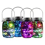 Holidayli Solar Mason Jar Lights Multi Pack LED Colorful Solar Fairy Lights Lids Insert for Garden Deck Patio Decor Hanging Lantern Lights (4-Pack)